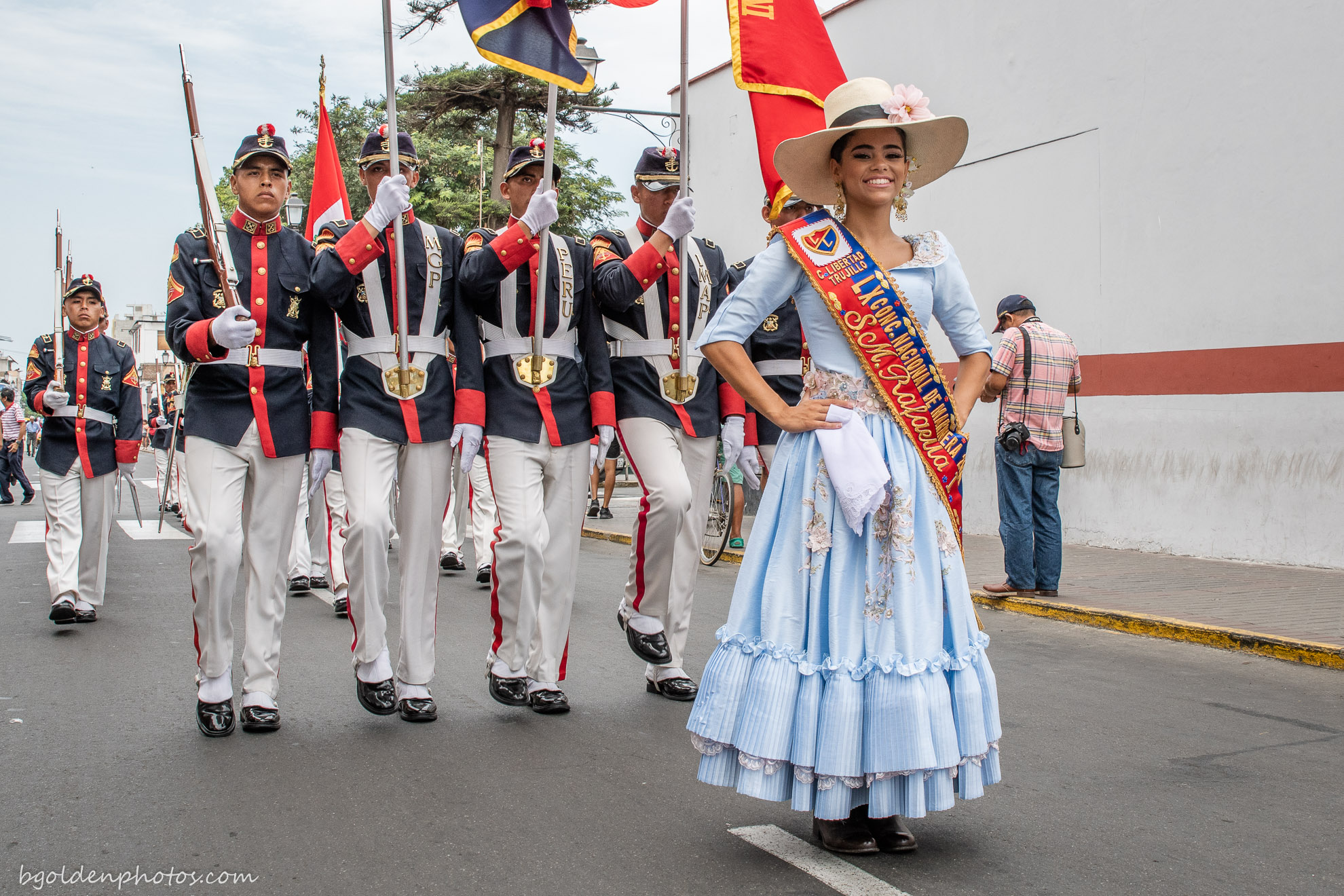 The Queen of the Marinera Festival in Trujillo Peru with Guard of Honour